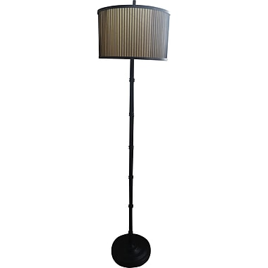 Fangio Black Finish Floor Lamp w/ Decorative Wood & Paper Shade