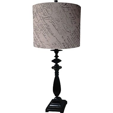 Fangio Madison Bronze Table Lamp w/ Parchment Script Linen Drum Shade