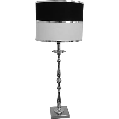 Fangio Chrome Table Lamp w/ Linen Parchment Drum Shade w/ Silver Foil Trim