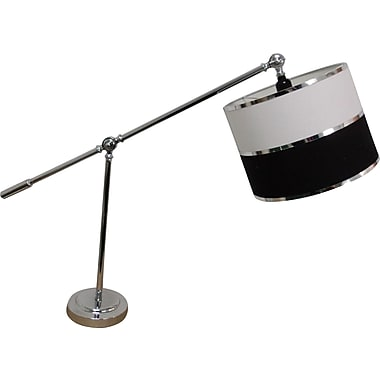 Fangio Chrome Desk Lamp w/ Linen Parchment Drum Shade w/ Silver Foil Trims