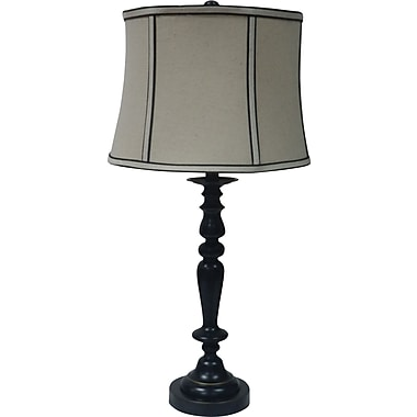Fangio Metal Table Lamp in Madison Bronze w/ Parchment Linen Bell Shade