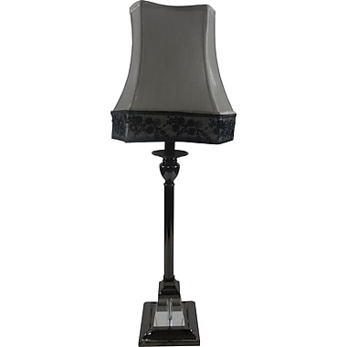 Fangio Metal & Crystal Buffet Lamp in Black Nickel w/ Black & White Scroll Shade