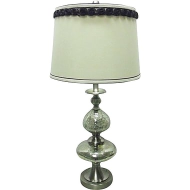 Fangio Steel & Mercury Glass Table Lamp in Brushed Steel w/ Cream Linen Drum Shade