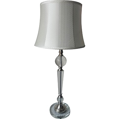Fangio Metal & Crystal Buffet Lamp in Chrome w Acetate Diamond Pattern Drum Shade