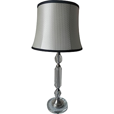 Fangio Metal & Crystal Table Lamp in Chrome w/ Acetate Diamond Bell Drum Shade