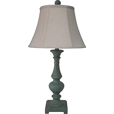 Fangio Poly Resin Table Lamp in Shabby Green w/ Bream Linen Bell Shade