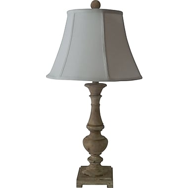 Fangio Poly Resin Table Lamp in Shabby White w/ Cream Linen Bell Shade