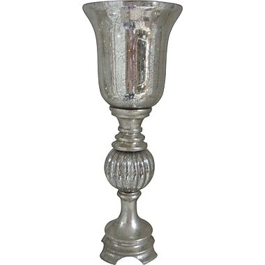 Fangio 18in. Resin & Mercury Glass Uplight in Silver Leaf w/ Goblet Glass Shade