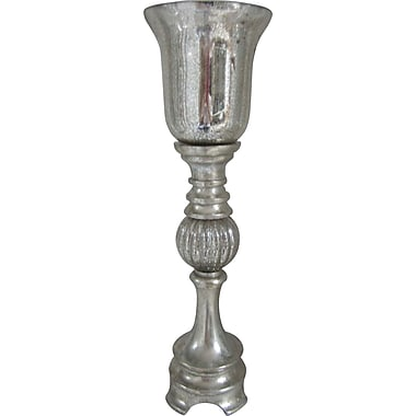 Fangio 23in. Resin & Mercury Glass Uplight in Silver Leaf w/ Goblet Glass Shade