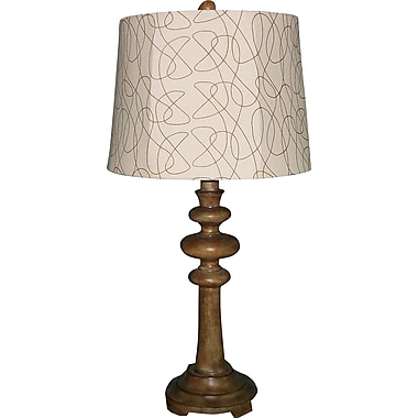Fangio Resin Table Lamp in Antique Ivory Finish with Cream Abstract Design Shade