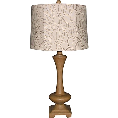 Fangio Resin Table Lamp in Antique Ivory Finish with Cream Linen Drum Shade