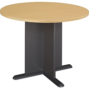 Bush Cubix 42in. Round Conference Table, Euro Beech/Slate Gray