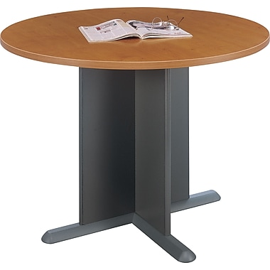 Bush Cubix 42in. Round Conference Table, Natural Cherry/Graphite Gray