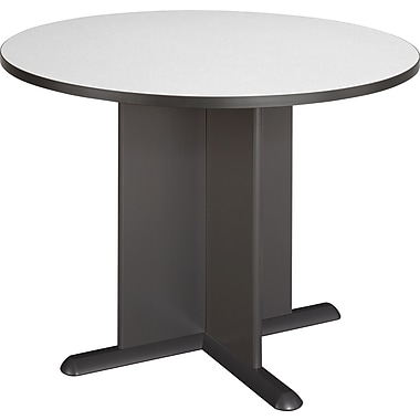 Bush Cubix 42in. Round Conference Table, Slate Gray/White Spectrum