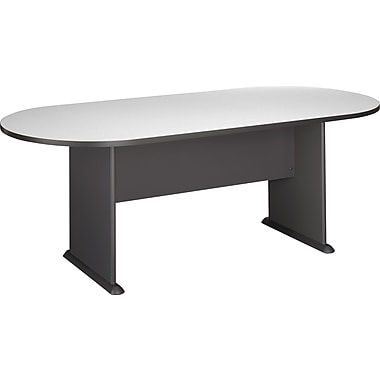 Bush Cubix Racetrack Conference Table, Slate Gray/White Spectrum