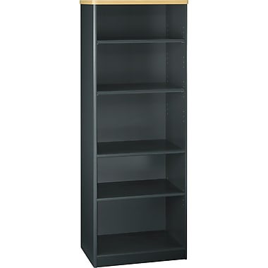 Bush Cubix 5-Shelf Bookcase, Beech/Slate Gray, Fully assembled