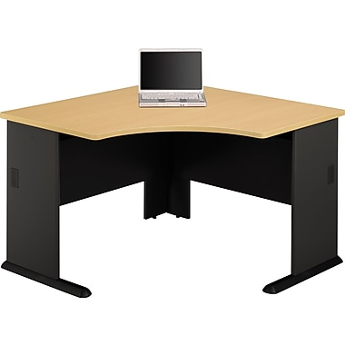 Bush Cubix 48in. Corner Desk, Euro Beech/Slate Gray