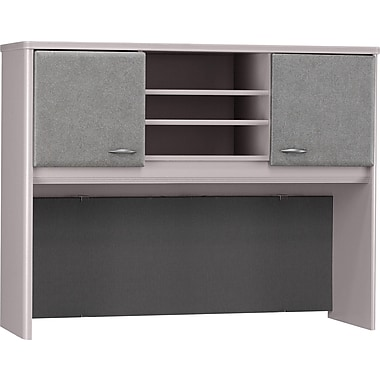 Bush Cubix 48in. Hutch, Pewter/White Spectrum
