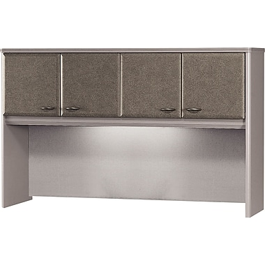 Bush Cubix 60in. Hutch, Pewter/White Spectrum