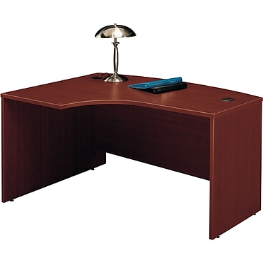 Bush Westfield Left L-Bow Front Desk, Cherry Mahogany