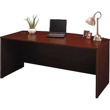 Bush Westfield 72in.W Bowfront Desk Shell, Cherry Mahogany