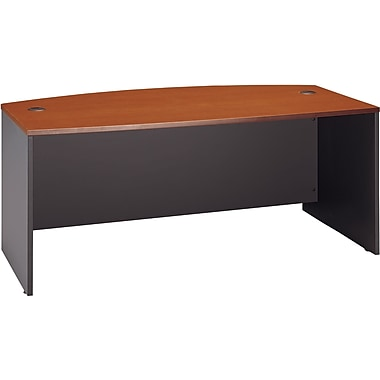 Bush Westfield Bow Front Desk, Autumn Cherry/Graphite Gray, Fully assembled