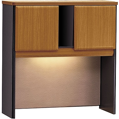 Bush Cubix 36in. Hutch, Natural Cherry/Slate Gray