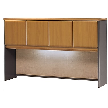 Bush Cubix 60in. Hutch, Natural Cherry/Slate Gray