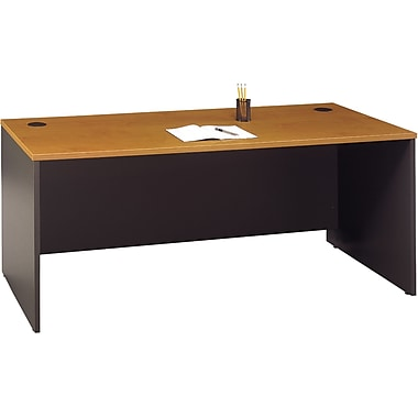Bush Westfield 72in. Desk, Natural Cherry/Graphite Gray, Fully assembled