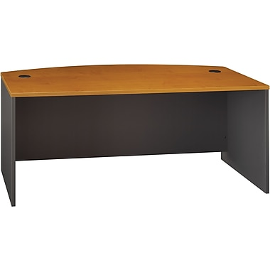 Bush Westfield 72in.W Bowfront Desk Shell, Natural Cherry, Installed