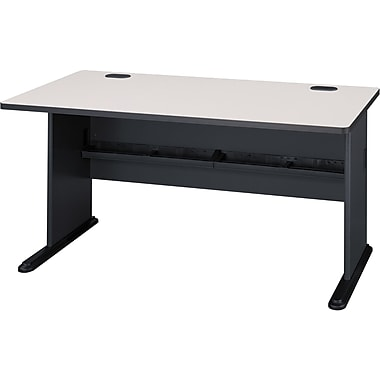 Bush Cubix 60in. Desk, Slate Gray/White Spectrum