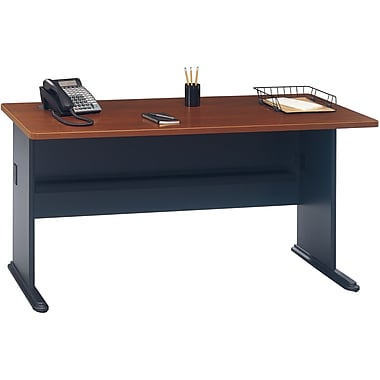 Bush Cubix 60in. Desk, Hansen Cherry/Galaxy