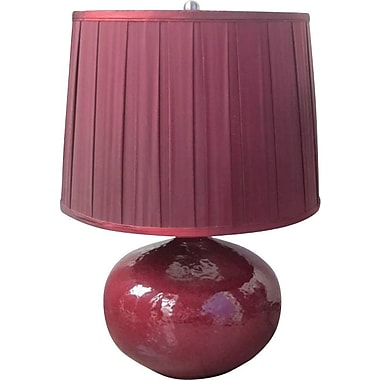 Fangio Ceramic & Metal Table Lamp in Red Finish w/ Cream Linen Drum Shade