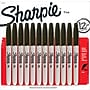 Sharpie® Fine Point Permanent Markers, Black, Dozen