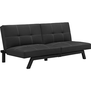DHP 3182098DS Faux Leather Split Back Futon, Black