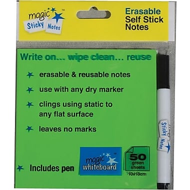 Magic Whiteboards Magic Sticky Notes, Green Pad