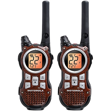 Motorola 35-mile Talkabout Rechargeable Two-Way Radio Pair, Wood Grain Brown