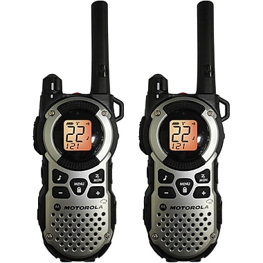 Motorola 35-mile Talkabout Water Resistant Silver Two-Way Radio Pair, Black/Silver