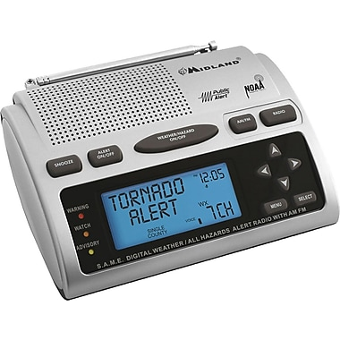 Midland 23 Code S.A.M.E. Weather Alert Radio, Black