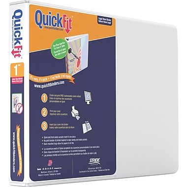 1in. Stride® Quick Fit Landscape Oriented 8 1/2in. x 11in. Round Ring, White