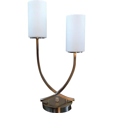 Fangio Steel & Glass 2 Light Table Lamp w/ Cylinder Glass Shade