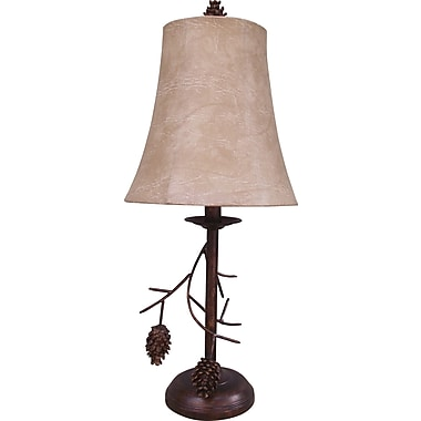 Fangio 23in. Pinecone Table Lamp in Antique Brown w/ Faux Hideskin Bell Shade