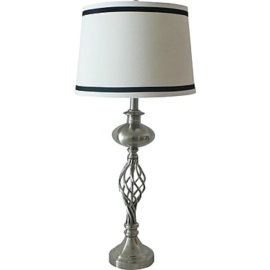 Fangio Metal Table Lamp Center Oval Cage Brushed Steel Finish w/ Cream Linen Modified Drum Shade