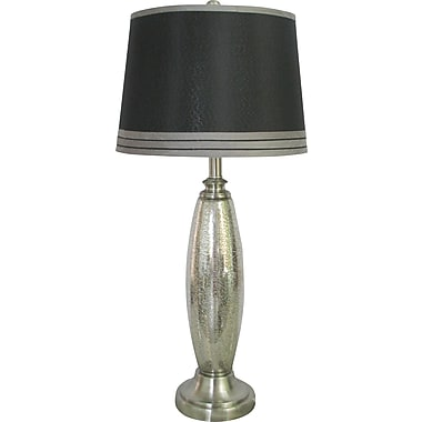 Fangio Steel & Glass 2 Light Table Lamp w/ Black Linen Drum Shade