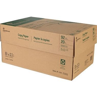 Sustainable Earth by Staples™ Copy Paper, 8 1/2in. x 11in., 20lb., Case