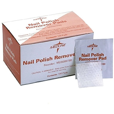 Medline Nail Polish Remover Pads, 100/Box