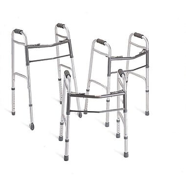 Guardian® Two-button Folding Walker with 3in. Wheels, Standard Adult, 32in. - 38in. H, 4/Pack