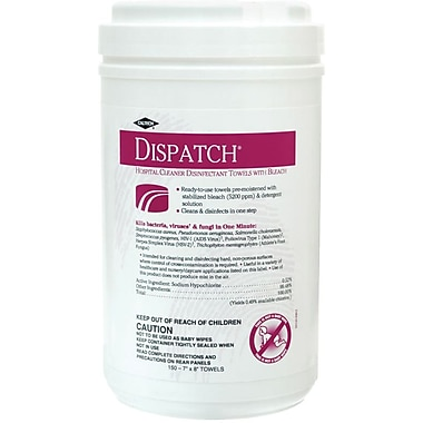 Dispatch® Hospital Cleaner Disinfectants Towels with Bleach, 7in. x 8in. Size