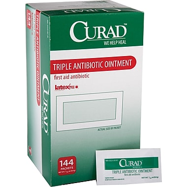Medline Curad CUR001209Z Triple Antibiotic Ointments 0.03oz. 144/Box