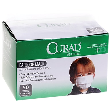 Curad® Child Face Masks, White, 600/Pack